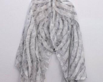 Black&White scarf \ Nuno Felted scarf \ Merino wool scarf\ Silk scarf\ Transparent scarf \ Snow scarf \ Powder scarf
