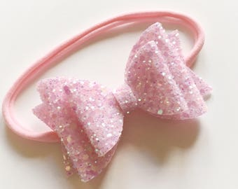 Double glitter pale pink bow on nylon headband - baby toddler headbands, one size headband