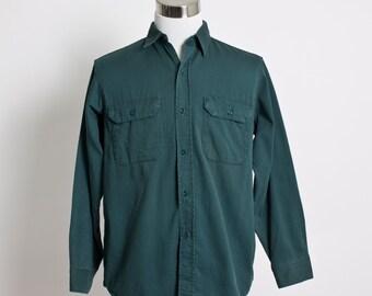 Vintage 60s Men's Work Shirt - BIG MAC Penney's Cotton Button Down Green - Large