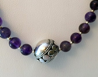 Amethyst Colored Beads w/Single Sterling Bead Necklace (Handcrafted)