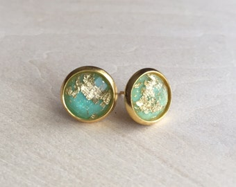Gold fleck flake sparkly stud earrings