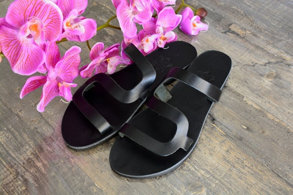on sandals Black sandals Slip Black Greek Black slides sandals ''Thasos'' leather sandals 4p16q7