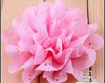 "4"" PINK eyelet flowers, 2 piece, floral, supplies, craft supply, headband flowers, diy hair bow supply, diy headband, chiffon flowers"