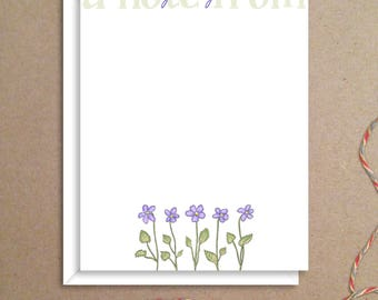Flat Note Cards - Violet Note Cards - Floral Thank You Cards- Personalized Floral Stationery - Floral Note Cards