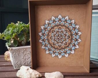 Blue and White Ink and Paint Mandala on Masonite Board