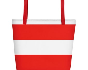 Red and White tote bag, Stripe Beach Bag, Summer bag, Vacation bag, Weekend bag, Bag for trip, Overnight bag