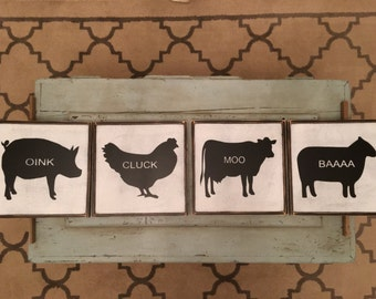 Farm Animal Signs, 4-10x10, Fixer Upper Inspired, Rustic, Farmhouse Signs