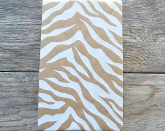 White Zebra Kraft Wrapping Paper, 20 Square Feet - Animal Print Gift Wrap - Kraft Paper - Safari Pattern - Safari Club - Jungle