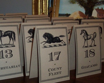 Equestrian Kentucky Derby Winners and Numbers Horse Race Table Number Cards Large Kraft Cream 18 Wedding Decor Party Racing Rehearsal Dinner