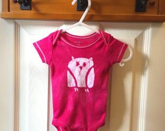 Preemie Baby Gift, Preemie Baby Bodysuit, Preemie Owl Bodysuit, Pink Owl Baby Bodysuit, Baby Shower Gift, Baby Girl Gift (Newborn)