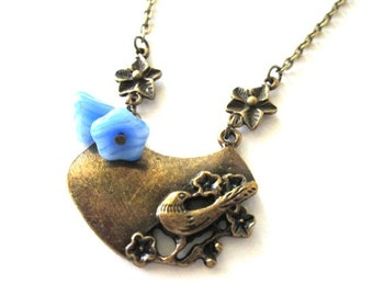 Sparrow necklace blue flower jewelry antique brass bronze bird necklace vintage style jewelry