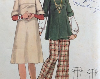 Butterick 5735 misses maternity dress or jumper or top and pants size 16 bust 38 waist 30 vintage 1970's sewing pattern