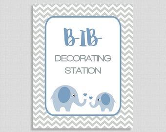 Bib Decorating Station Shower Table Sign, Blue Elephant Shower Sign, Grey Chevron, Baby Boy, INSTANT PRINTABLE