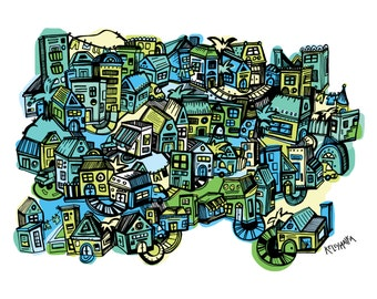 Tiny Town Blues Illustrated Print | Blue and Green Art | House Drawing | Town Illustration | Neighborhood Art | Room Decor | Cool Colors