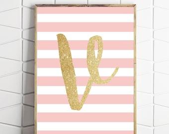 V monogram print, letter V artwork, monogram digital print, monogram letterV, letter V wall art