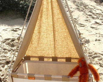 Heavenly canopies for the Hussh hanging cradle. Pure linen. Check our lower pricing www.hussh-cradles.com