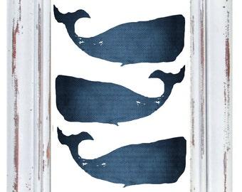 Moby Whale Art Print, Coastal Wall Decor, Whale Print, Beachhouse