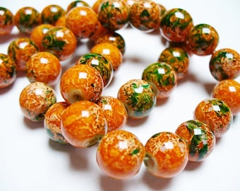 Glass Beads Orange and Green Round 10MM