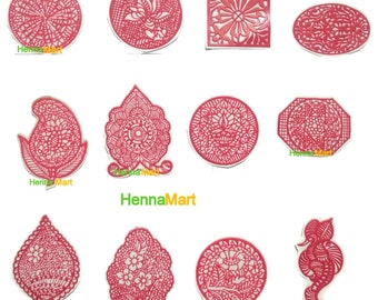 12 Henna Reusable Stencils For Application of Henna Designs Temporary Tattoo Henna Stencil