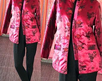 Asian Cheongsam Jacket Vintage Brocade Blue Swan Asian Brocade Party Jacket