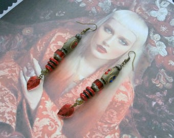 """Dangle earrings style """"Ethnic CHIC"""" Bohemian, Indian beads and Red Czech glass"""