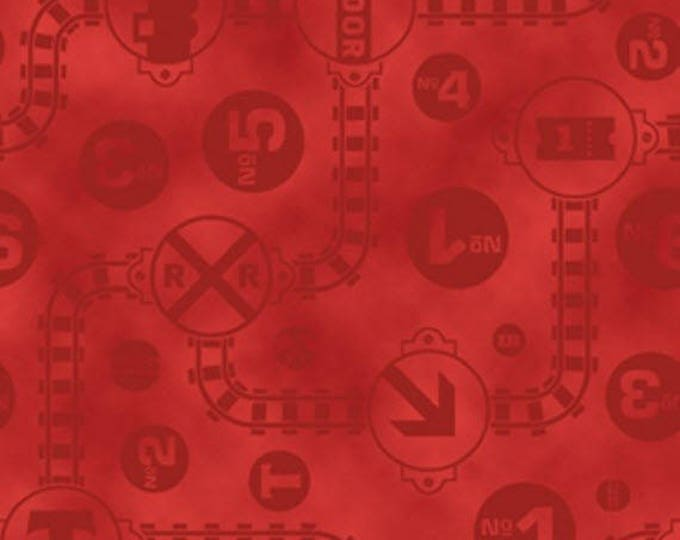 FAST FRIENDS! - Thomas the Tank Engine - Track & Icon Toss in Red - Train Cotton Quilt Fabric - Quilting Treasures Fabrics - 23896-R (W4043)
