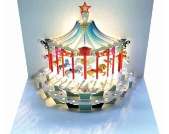 Pop Up Laser Cut Card - Carousel Happy Birthday card