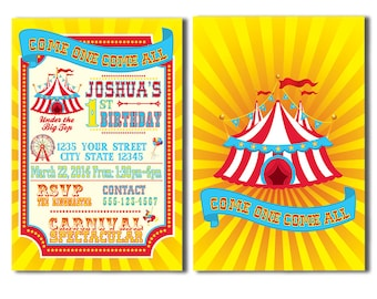 Children's Carnival Birthday Party Invitations