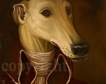 Greyhound Gentleman Elegant Portrait Silly Signed Print