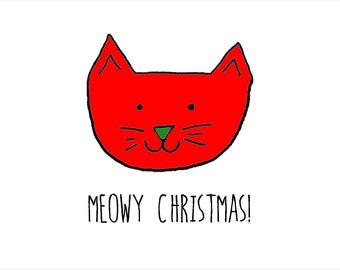 Meowy Christmas, A6 card
