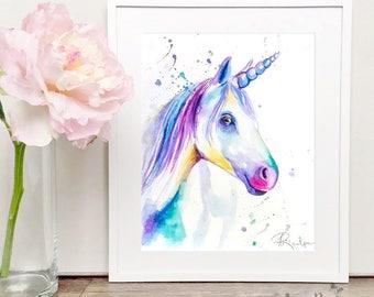 Unicorn Watercolor art, Original Artwork, Original Watercolor Painting, Unicorn Nursery Art, Unicorn Art, Unicorn Painting