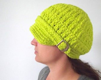 Womens Newsboy Hat Lime Green Newsboy Cap Lime Newsboy Lime Green Womens Hat Lime Womens Hat Crochet Newsboy Womens Cap Lime Green Cap