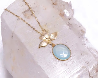 Delicate Gemstone Necklace with Gold Leaf detail- Pale Aqua Chalcedony or Smokey Topaz- Necklace with Leaf - Silver or Gold