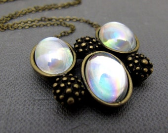 """Clear Iridescent Oval Domes Necklace  // Modern Fall Design // 17"""" Brass Chain"""