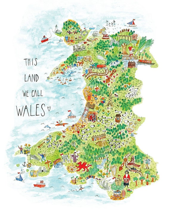Wales Map Print Welsh Gift Map of Wales A3 Print Map Art