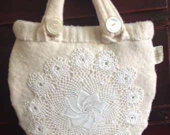 Bridal purse handmade from upcycled Banana Republic wool sweater