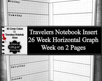 Travelers Notebook Insert 26 Weeks Horizontal Weekly Planner Insert Calendar Schedule Appointments To Do List Daily Planner Notebook Journal