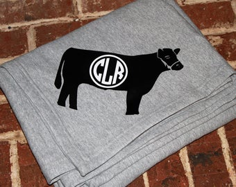 Cow Sweatshirt Stadium Blanket, personalized sweatshirt blanket, personalized blanket, monogrammed blanket, personalized throw