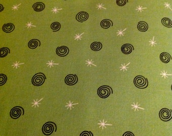 Peppermint Twist, by Dana Brooks, for Henry Glass, Christmas fabric, Green fabric, Spiral Circles and Stars, One Yard, Fabric From the Bolt