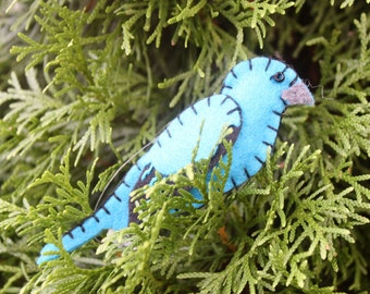 Indigo Bunting Felt Bird Ornament'