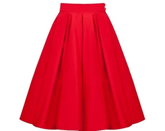 Red skirt, retro skirt, circle skirt, pin up skirt, petticoat skirt, swing skirt
