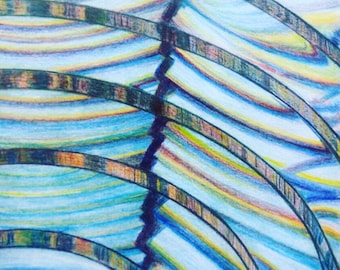 Lighthouse Lens, Unframed, A3 size Colored Pencil Drawing