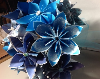 Royal Blue Paper Flowers 10 Colorful Loose Origami Flowers with Wire Stems and Fancy Centers