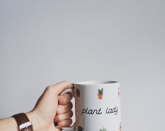 Plant Lady Coffee Mug // Illustrated Succulents Gift // Plant Lady Gift // Unique Coffee Mug