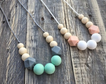 Silicone Baby Teething Necklace - Nursing Necklace - Teething Jewelry - Baby Shower Gift - Toy - Mom and Baby