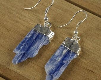 Blue KYANITE Earrings - Rough Gemstone Jewelry with Natural Kyanite Blade & Silver Earrings - Raw Kyanite Jewelry, Handmade Jewelry E0133