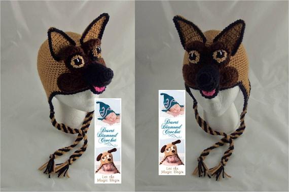 Crochet Pattern 077- German Shepherd Beanie Hat - All Sizes
