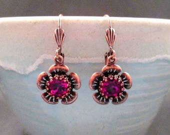 Rhinestone Flower Earrings, Fuschia Glass Stones and Copper Dangle Earrings, FREE Shipping U.S.