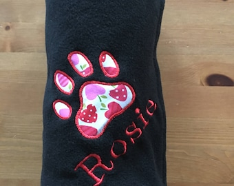 Personalised Embroidered Dog Cat Puppy Kitten Fleece Blanket