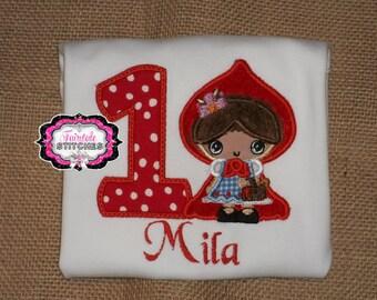 Little Red Riding Hood, Red Riding Hood Birthday, Riding Hood Shirt, Girl Birthday Shirt, First Birthday Shirt
